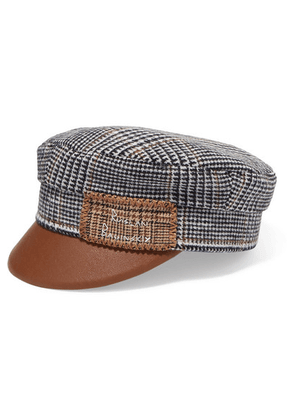 Ruslan Baginskiy - Embroidered Checked Wool And Faux Leather Cap - Gray