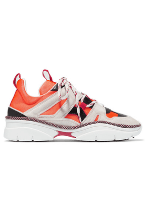 Isabel Marant - Kindsay Suede, Leather And Mesh Sneakers - Orange