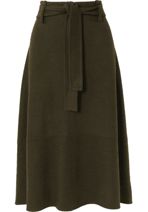 Vince - Belted Wool-blend Midi Skirt - Army green