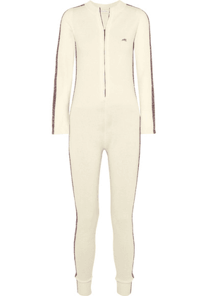 Bella Freud - Futuristic Metallic Striped Merino Wool-blend Jumpsuit - White