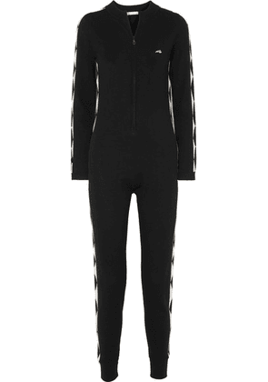 Bella Freud - Harlequin Embroidered Intarsia Merino Wool Jumpsuit - Black