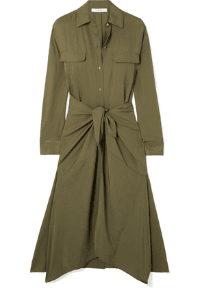Vince - Tie-front Crinkled-satin Midi Dress - Army green