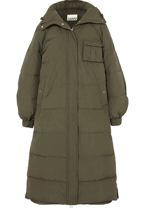 GANNI - Oversized Quilted Shell Coat - Army green
