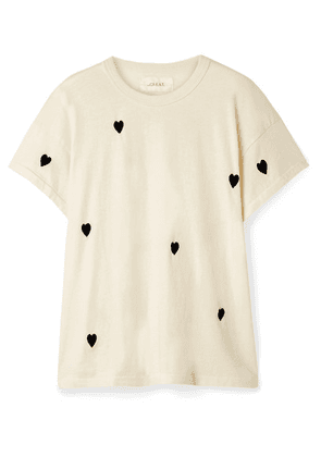 The Great - The Boxy Crew Embroidered Cotton-jersey T-shirt - Off-white