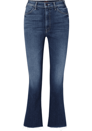 Mother - The Hustler Cropped Frayed High-rise Flared Jeans - Blue