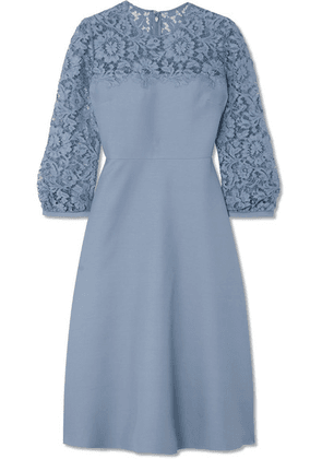 Valentino - Guipure Lace-trimmed Wool And Silk-blend Crepe Midi Dress - Blue