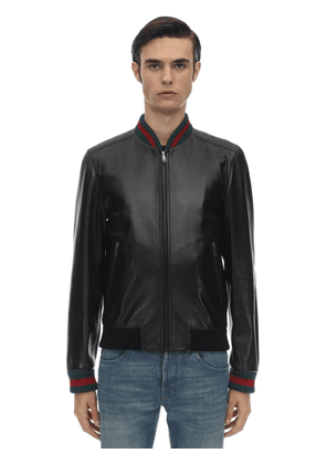Leather Jacket W/ Web Detail