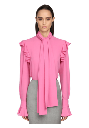 Georgette Blouse W/self-tie Bow Collar