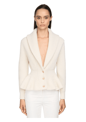 Ruffled Cashmere Blend Knit Cardigan