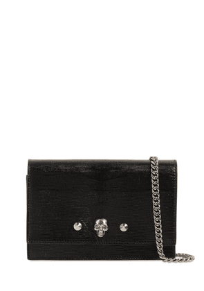 Skull & Stud Lizard Embossed Leather Bag