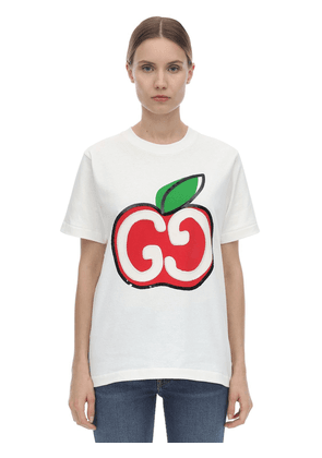 Embroidered Gg Apple Jersey T-shirt