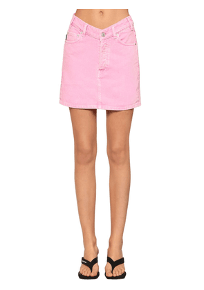 V Waist Cotton Denim Mini Skirt