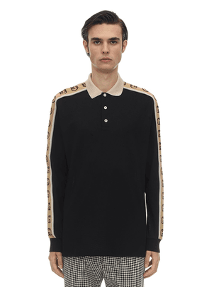 Stretch Cotton Piquet L/s Polo Shirt