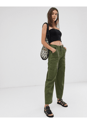 Weekday contrast stitch cargo trousers in khaki green