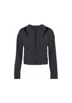 Cushnie Cropped Mesh-paneled Cutout Shell Hooded Jacket Woman Anthracite Size XS