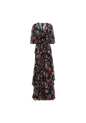 Dolce & Gabbana Lace-trimmed Tiered Floral-print Silk Maxi Dress Woman Black Size 42