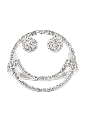 Silver Women's 18Kt White Gold Smiley Ring