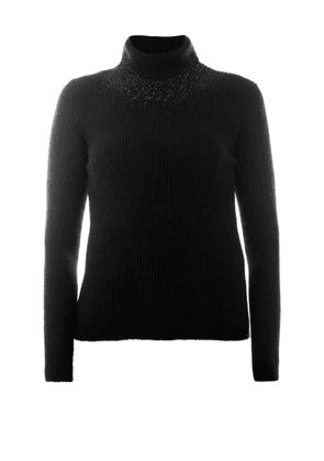 Crystal Embellished Wool Turtleneck Sweater