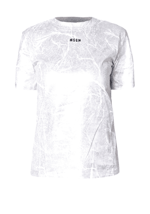 Crackled Effect Silver Print T-Shirt