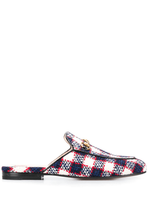 Gucci Princetown checked tweed loafers - Blue