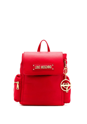 Love Moschino logo plaque backpack - Red