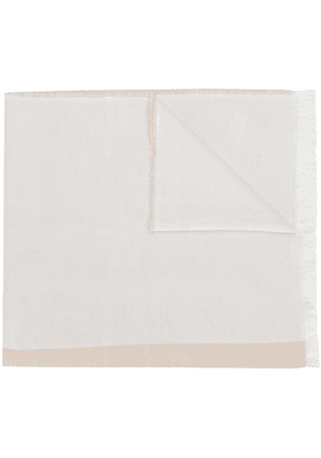 Barbour logo printed fringed scarf - White