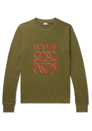 Loewe - Slim-fit Logo-embroidered Loopback Cotton-jersey Sweatshirt - Green