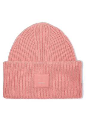 Acne Studios - Pansy Face Appliquéd Ribbed Wool Beanie - Pink