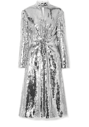Tibi - Avril Cutout Cotton-twill And Sequined Georgette Midi Dress - Ivory