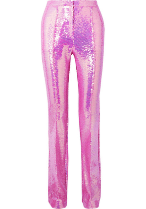 Paco Rabanne - Sequined Satin Straight-leg Pants - Pink
