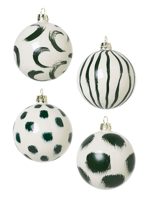 Set Of 4 Christmas Hand Painted Ornament