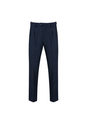 Royal Blue Wool Flannel Pleated Trousers