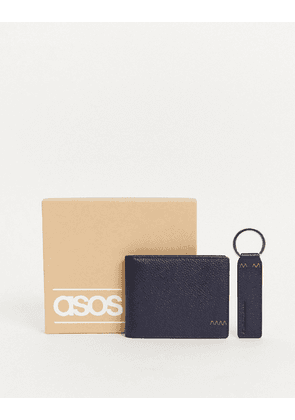 ASOS DESGIN leather wallet and keyring set in navy with contrast stitch detail