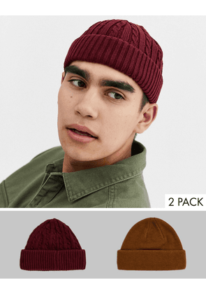 ASOS DESIGN 2 pack mini fisherman in tobacco and burgundy cable knit-Multi