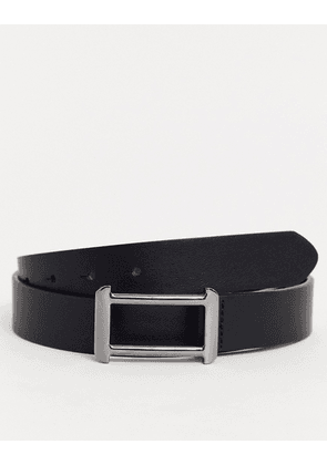 ASOS DESIGN faux leather belt in black with gunmetal buckle