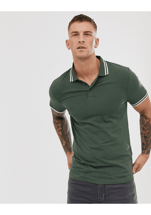 ASOS DESIGN skinny fit polo shirt with tipping-Green