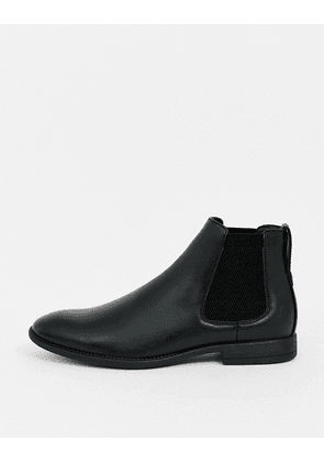 New Look faux leather chelsea boot in black