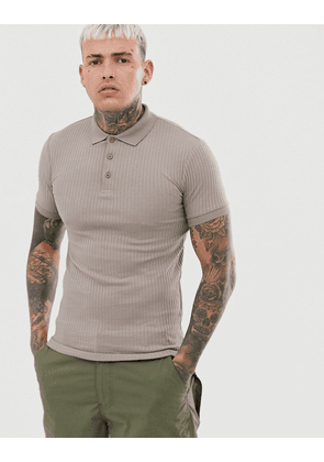 ASOS DESIGN muscle fit polo in rib in beige