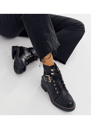 ASOS DESIGN Wide Fit Armour chain lace up boots in black
