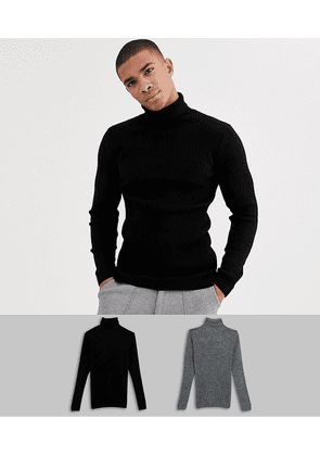 ASOS DESIGN muscle fit ribbed roll neck jumper in black / black & white twist-Multi