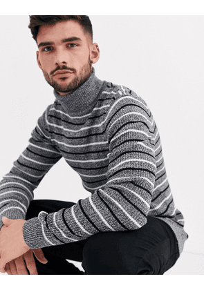 ASOS DESIGN muscle fit roll neck jumper with stripe in black and white twist-Grey