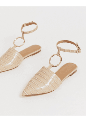 ASOS DESIGN Likeable ballet flats with bamboo ring in beige croc
