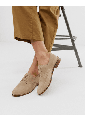 ASOS DESIGN Marshall leather lace up flat shoes in beige