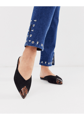 ASOS DESIGN Latte pointed mules in black and tortoise