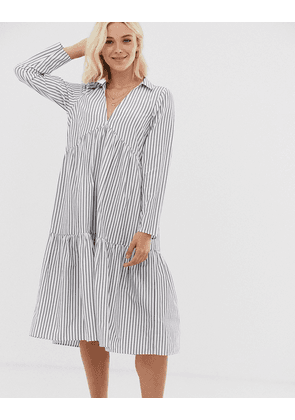 ASOS DESIGN tiered collared cotton smock midi dress with long sleeves in cut about stripe-Multi