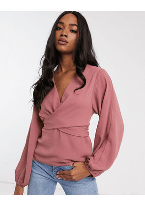 ASOS DESIGN long sleeve top with twist front detail-No Colour