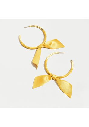 Hoop earrings with ribbon tie