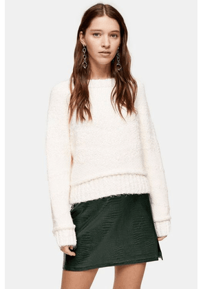 Womens Knitted Boucle Jumper - Ivory, Ivory