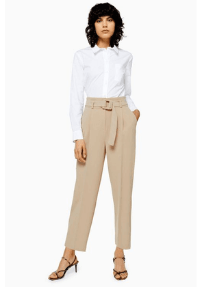 Womens Stone Buckle Peg Trousers - Stone, Stone