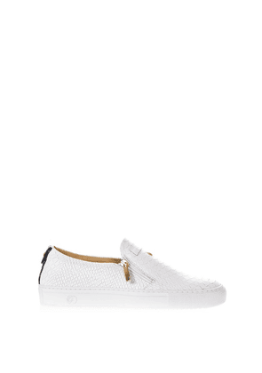 Python Leather Slip-On Sneakers